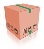 Carboard box package. Cardboard box carton container with reflection isolated on white package for moving relocation shipping or delivery from online web shop vector illustration