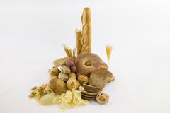 Carbohydrate food stuffs Royalty Free Stock Photos