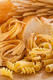 Carbohydrate. Foods high in carbohydrate with wheat stock photo