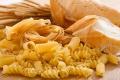 Carbohydrate. Foods high in carbohydrate and wheat stock photo