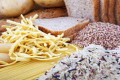Carbohydrate products background. Background with different kinds of carbohydrate products royalty free stock photos