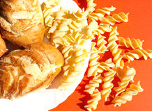 Carbohydrates. Pasta and bread composition, Italy Stock Photo