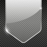 Carbon background with transparent glass banner. Vector illustration Royalty Free Stock Images