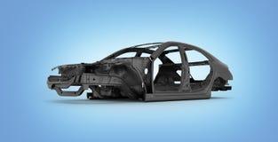 Carbon body car  on blue gradient background 3d illustration stock illustration