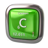 Carbon C chemical element from the periodic table green icon vector illustration