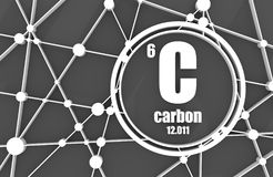 Carbon chemical element. Sign with atomic number and atomic weight. Chemical element of periodic table. Molecule And Communication Background. Connected lines Royalty Free Stock Photo
