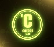 Carbon chemical element. Sign with atomic number and atomic weight. Chemical element of periodic table. Molecule And Communication Background. Connected lines vector illustration