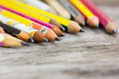 Carbon crayon pencils, shallow depth of field. Royalty Free Stock Photography