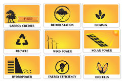 Carbon credits. Earning carbon credits by using green energy Royalty Free Stock Images