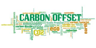 Carbon credits. Carbon offset - international environmental issues and concepts tag cloud illustration. Word cloud collage concept Stock Images