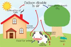 The carbon cycle royalty free illustration