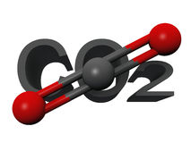 Carbon dioxide. The molecule  of carbon dioxide Stock Images