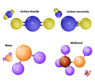 Carbon dioxide and  Carbon monoxide. Water molecule and Methano Stock Image