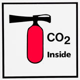 Carbon dioxide containing fire extinguisher icon. Symbol icon of flame extinguisher showing a red extinguisher with a nozzle attachment and text warning iit Stock Image