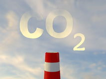 Carbon dioxide and industrial chimney Stock Images