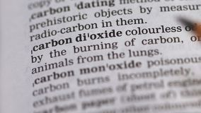 Carbon dioxide phrase in english dictionary, harmful environmental chemicals. Stock footage stock video footage