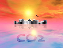 Carbon Dioxide rising the Sea Level Stock Photography