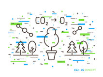 Carbon Dioxide To Oxygen Linear Vector Illustration Royalty Free Stock Images
