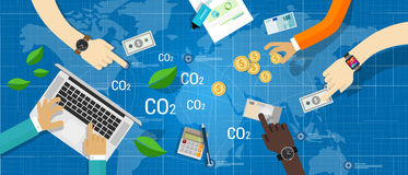 Carbon emission co2 trading business bargain Royalty Free Stock Photography