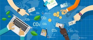 Carbon emission co2 trading business bargain vector illustration