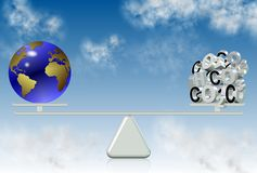 Carbon emission and world Stock Photos