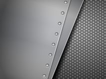 Carbon fiber background. Steel plates and carbon fiber background Stock Photography
