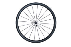 Carbon Bicycle Wheel. A picture of a front carbon fiber bicycle wheel isolated on a white background with no tire stock images