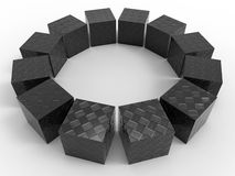 Carbon fiber cubes array. 3D rendered illustration of multiple carbon fiber cubes arranged in a circular array. The composition is isolated on a white background Royalty Free Stock Photos