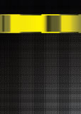 Carbon fiber gold background. Carbon fiber background with gold band or banner with copy space Stock Image