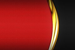 Carbon fiber and gold curve chromium frame. metal background. Red and black carbon fiber and gold curve chromium frame. metal background and texture. material stock illustration