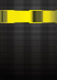 Carbon fiber gold template. Carbon fiber background with gold banner for template work Stock Image