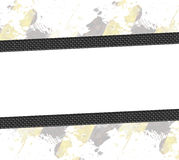 Carbon Fiber Layout. A hazard stripes paint splatter frame in black and yellow.with carbon fiber accents Stock Photo