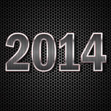 2014 Carbon Fiber. 2014 made ​​of carbon fiber on the background of metallic honeycomb royalty free illustration