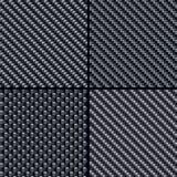 Carbon fiber seamless patterns set Stock Images