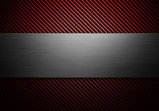 Carbon fiber texture with polish metal plate on center. Abstract modern carbon fiber with polish metal plate on center texture material design for background vector illustration