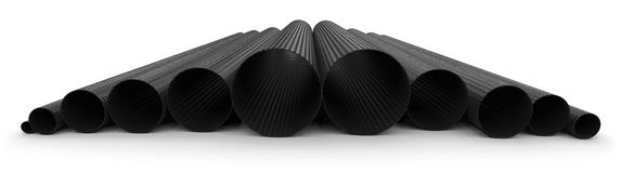 Carbon fiber tubes Stock Images