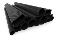 Carbon fiber tubes. On white Stock Photo
