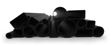 Carbon fiber tubes. On white Royalty Free Stock Image