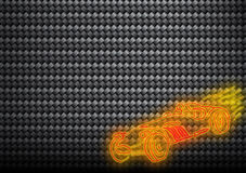 Carbon fibers texture with flaming car Royalty Free Stock Images