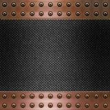 Carbon fibre and copper background. Image of carbon fibre inlaid in copper metal frame royalty free illustration