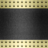 Carbon fibre gold metal background Stock Photos