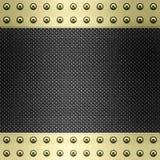 Carbon fibre gold metal background Stock Photos