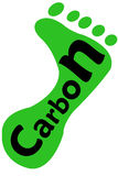 Carbon Footprint. The word Carbon on a human footprint - Carbon Footprint concept. Black letters on Green background royalty free stock photo