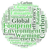 Carbon footprint. Ball word cloud Royalty Free Stock Photography