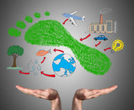 Carbon footprint concept sustained by open hands Stock Image
