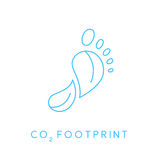 Carbon footprint icon with linear footprint leaves icon Royalty Free Stock Photo