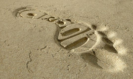 Carbon Footprint In The Sand Royalty Free Stock Photos
