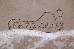 Carbon Footprint in the Sand Stock Images