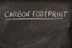 Carbon footprint title on a blackboard Royalty Free Stock Photography