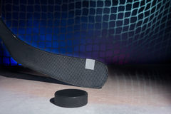 Carbon hockey stick on ice, Royalty Free Stock Photo